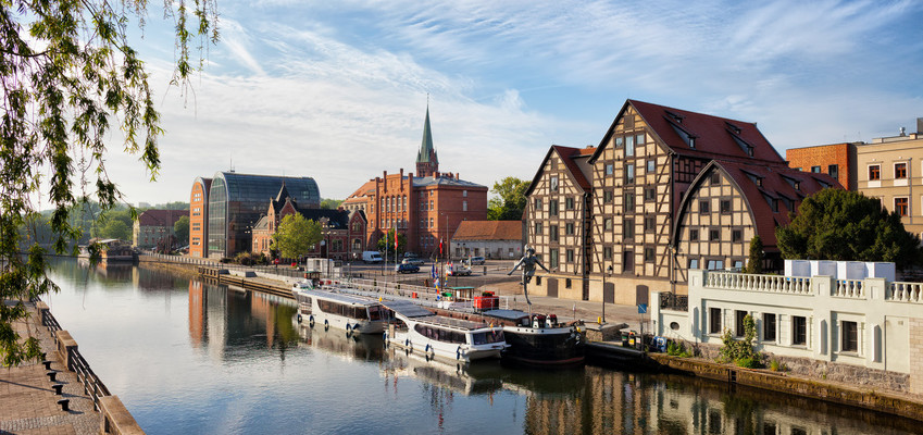 City of Bydgoszcz in Poland with Granaries by the Brda River.